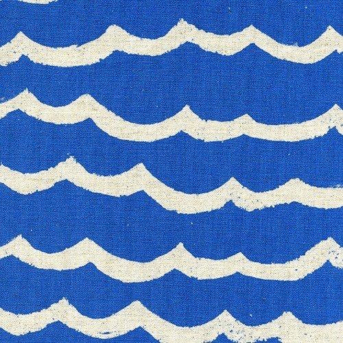 Cotton + Steel Waves Canvas in Blue Sea