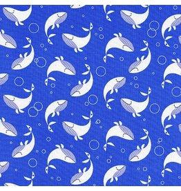 Cotton + Steel Whale Dance in Blue Sea