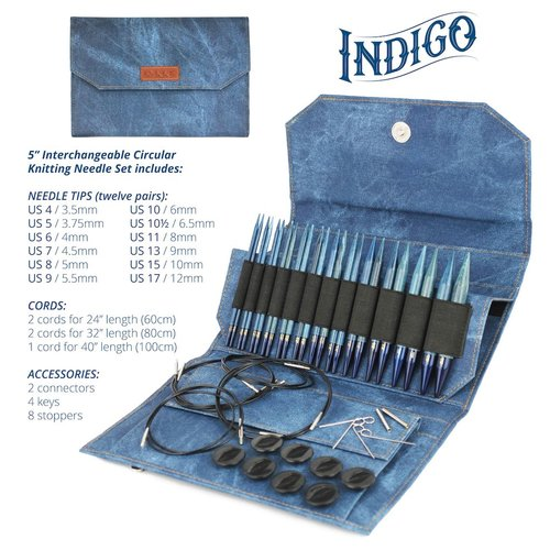 "Lykke Lykke 5"" Interchangeable Circular Knitting Needle Set in Indigo"