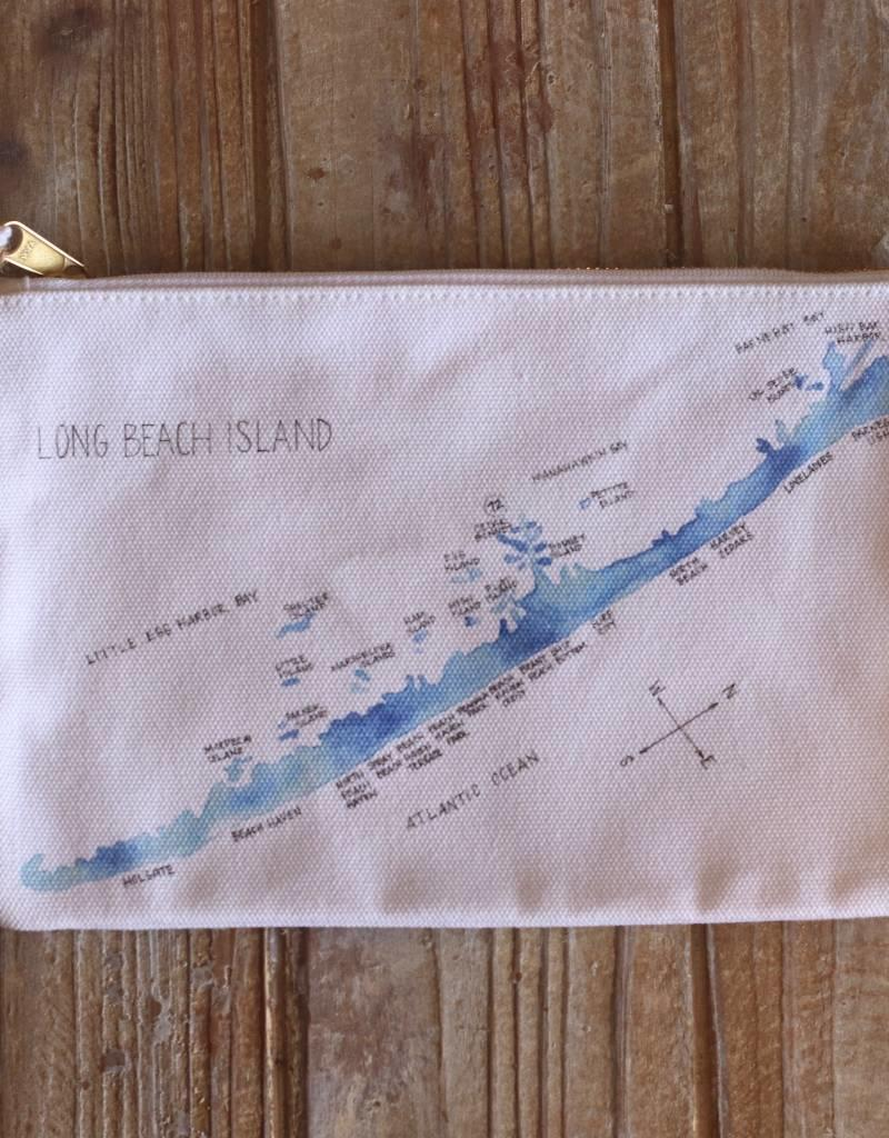 Isola Bella LBI Watercolor Map Canvas Pouch