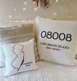 "Wildwood Landing LBI Zip Code 20"" Pillow"