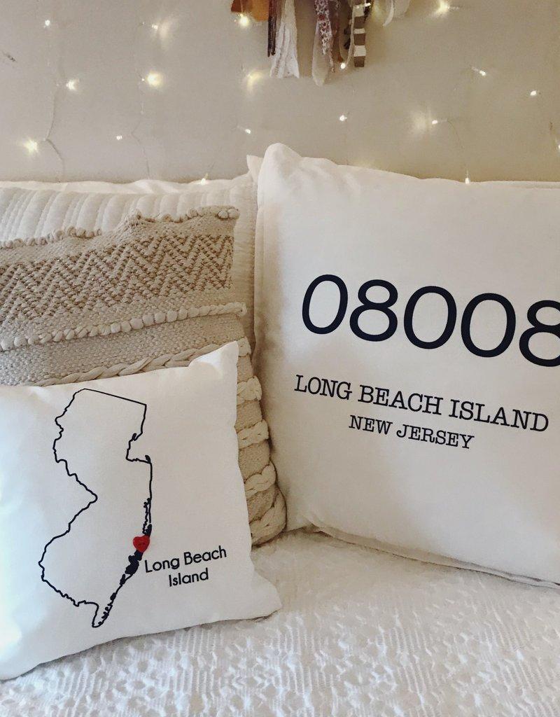 """Wildwood Landing LBI Zip Code 20"""" Pillow"""