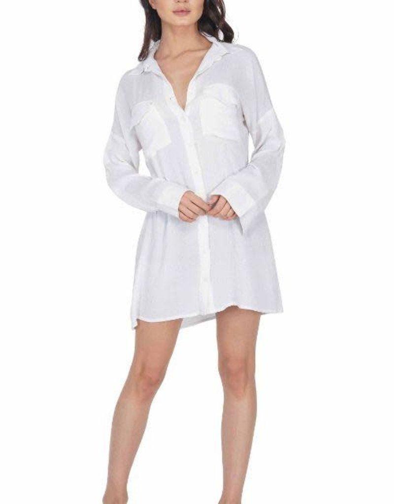 White Dove Boyfriend Shirt Coverup