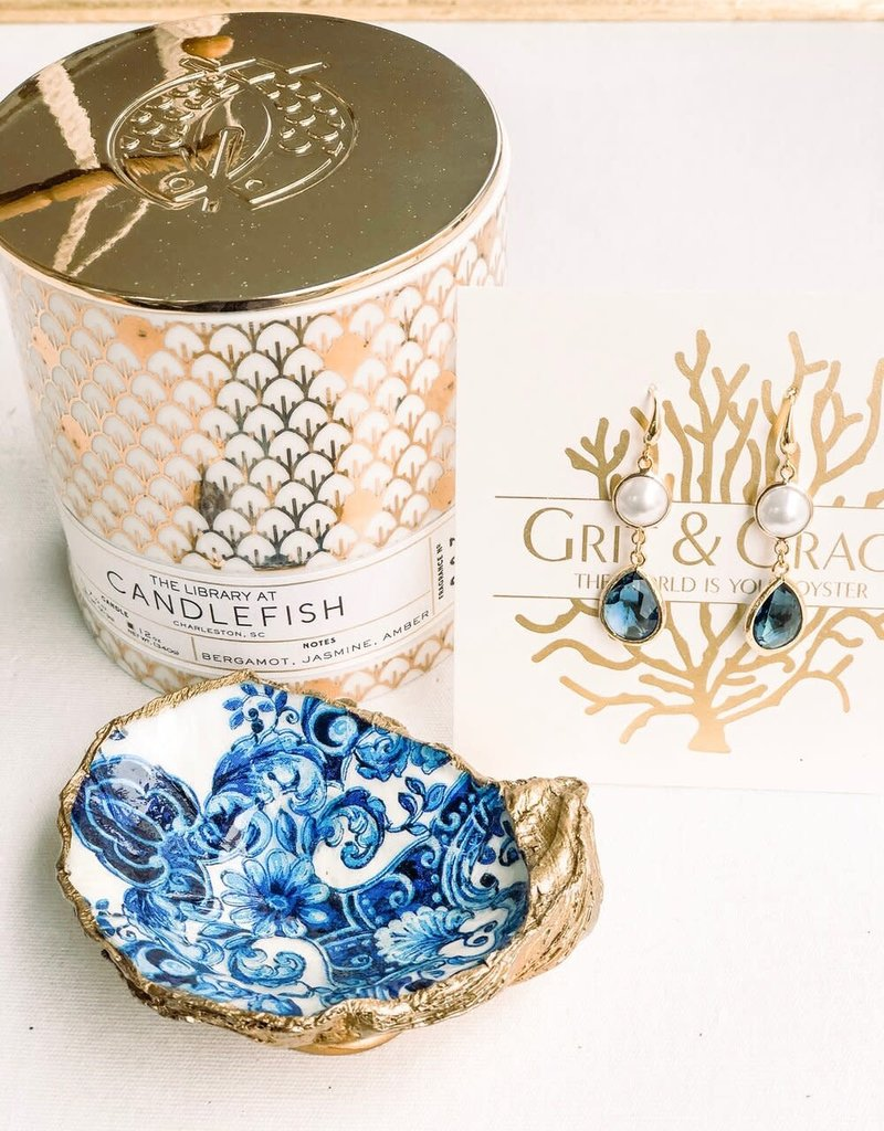 Grit & Grace Decoupage Oyster Dish | Indigo Floral