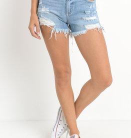 Mid Rise Super Destroy Shorts