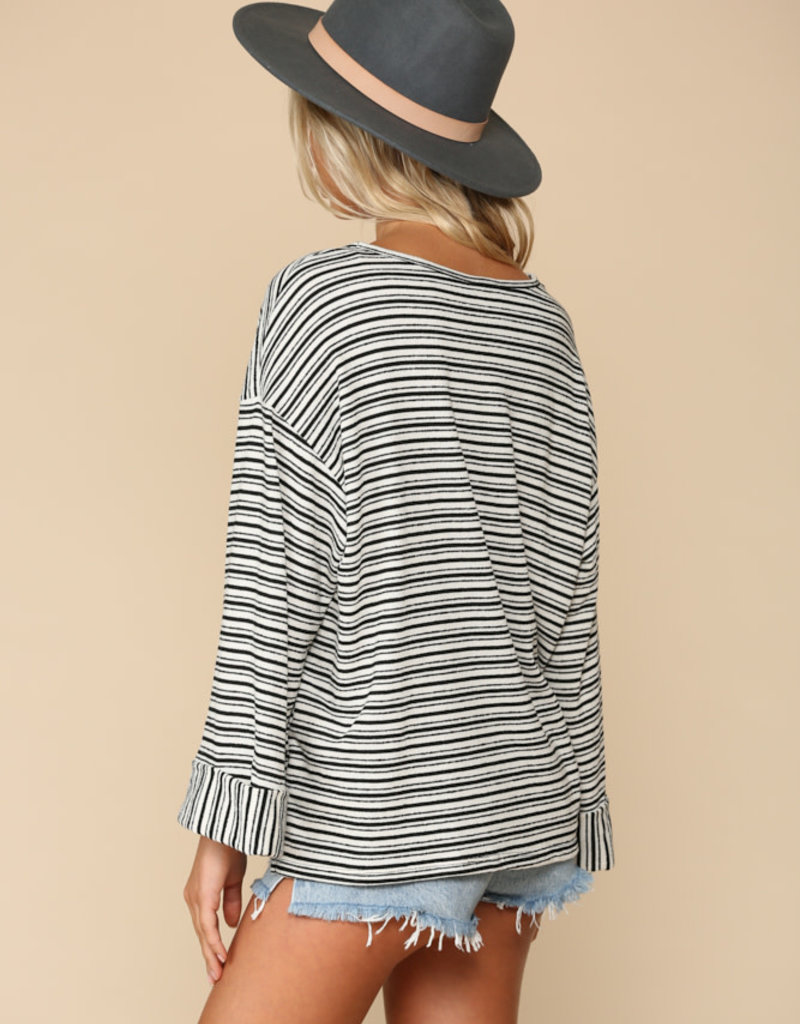 Knit Jersey Top with Cuffed Sleeves