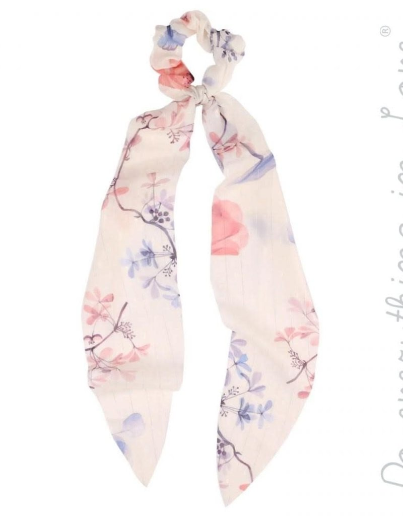 Metallic Pin Stripe Floral Scrunchie Scarf