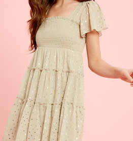 Foil Smocked Ruffle Dress
