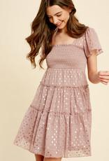 Foil Smocked Ruffle Dress