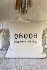 Indigo Tangerine LBI Zip Code Canvas Pillow