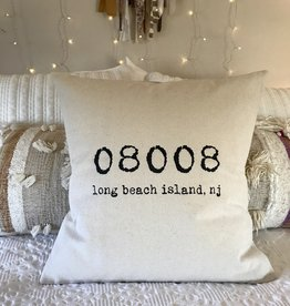 Indigo Tangerine LBI Zip Code Canvas Pillow