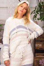 POL Clothing Berber Fleece Hoodie Stripe