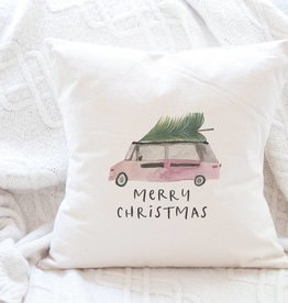 Indigo Tangerine Christmas Van Canvas Pillow