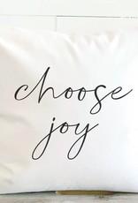 Indigo Tangerine Choose Joy Cotton Canvas Pillow