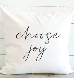 Indigo Tangerine Choose Joy Cotton Canvas Pillow