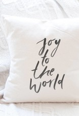 Indigo Tangerine Joy To The World Cotton Canvas Pillow