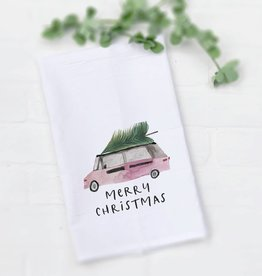 Indigo Tangerine Christmas Van Tea Towel