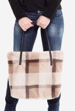 Judson & Co. Faux Fur Plaid Print Tote Bag