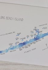 Isola Bella LBI Watercolor Map Greeting Cards