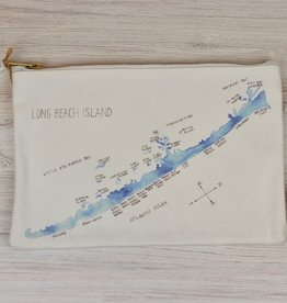 Isola Bella LBI Watercolor Map Canvas Pouch