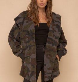 Hem & Thread Camo Print Teddy Coat