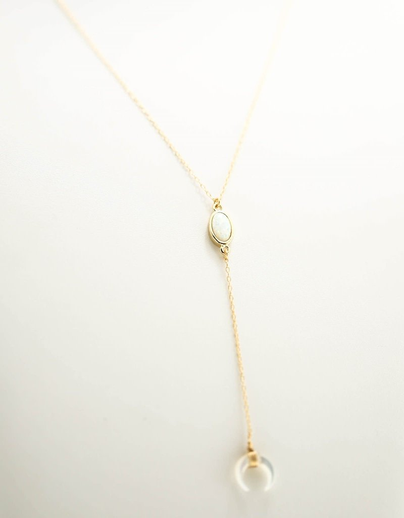 Silver Girl Opal MOP Crescent Y Necklace