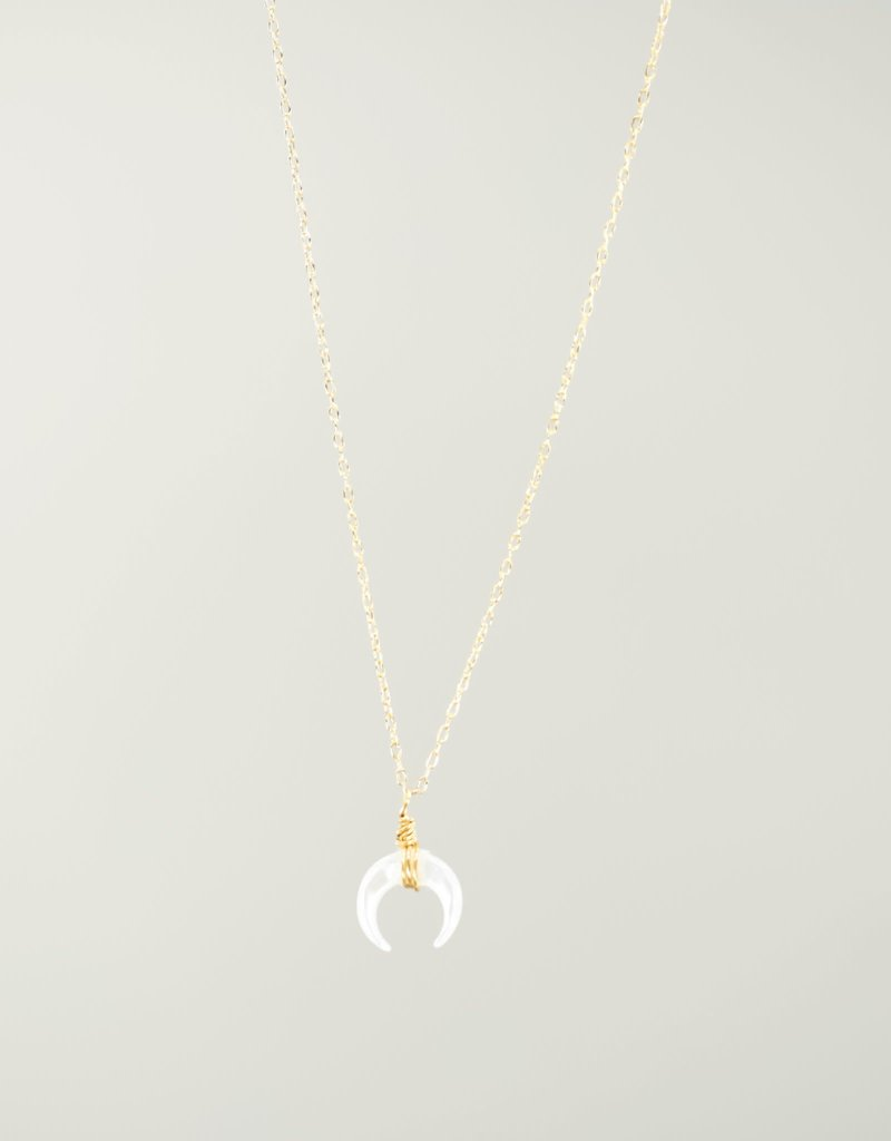 Silver Girl MOP Crescent Chain Necklace