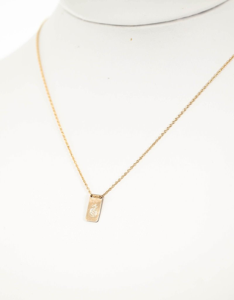 Silver Girl Stamped Drop Necklace Gold Fill