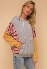 Hem & Thread Abbey Aztec Fleece Color Block Hoodie