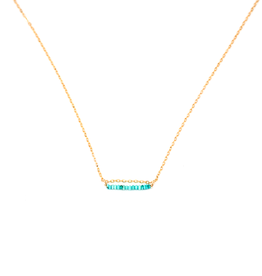"""May Martin Turquoise Bead Necklace Gold Filled 14.5"""""""