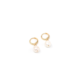 May Martin Alina Pearl Hoops Gold Plated