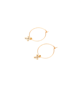 May Martin Mini CZ Cross Hoops Gold Filled