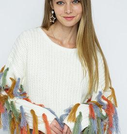 Blue B Callie Fringe Sleeve Sweater