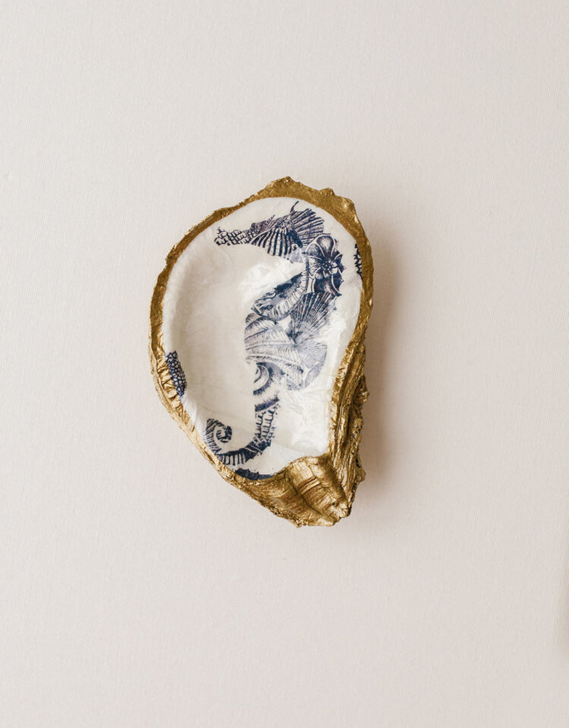 Grit & Grace Decoupage Oyster Dish | Indigo Print Seahorse