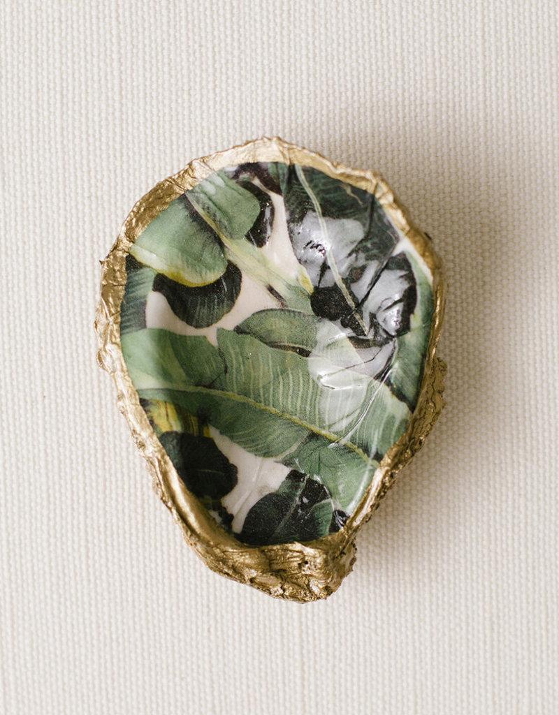 Grit & Grace Decoupage Oyster Dish | Tropical Print Banana Leaf