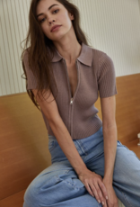 By Together Rayna Zip Front Ribbed Sweater Top