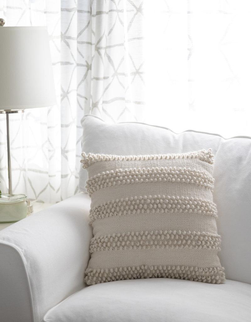 "PD Home & Garden 18"" White Accent Stripe Pillow"