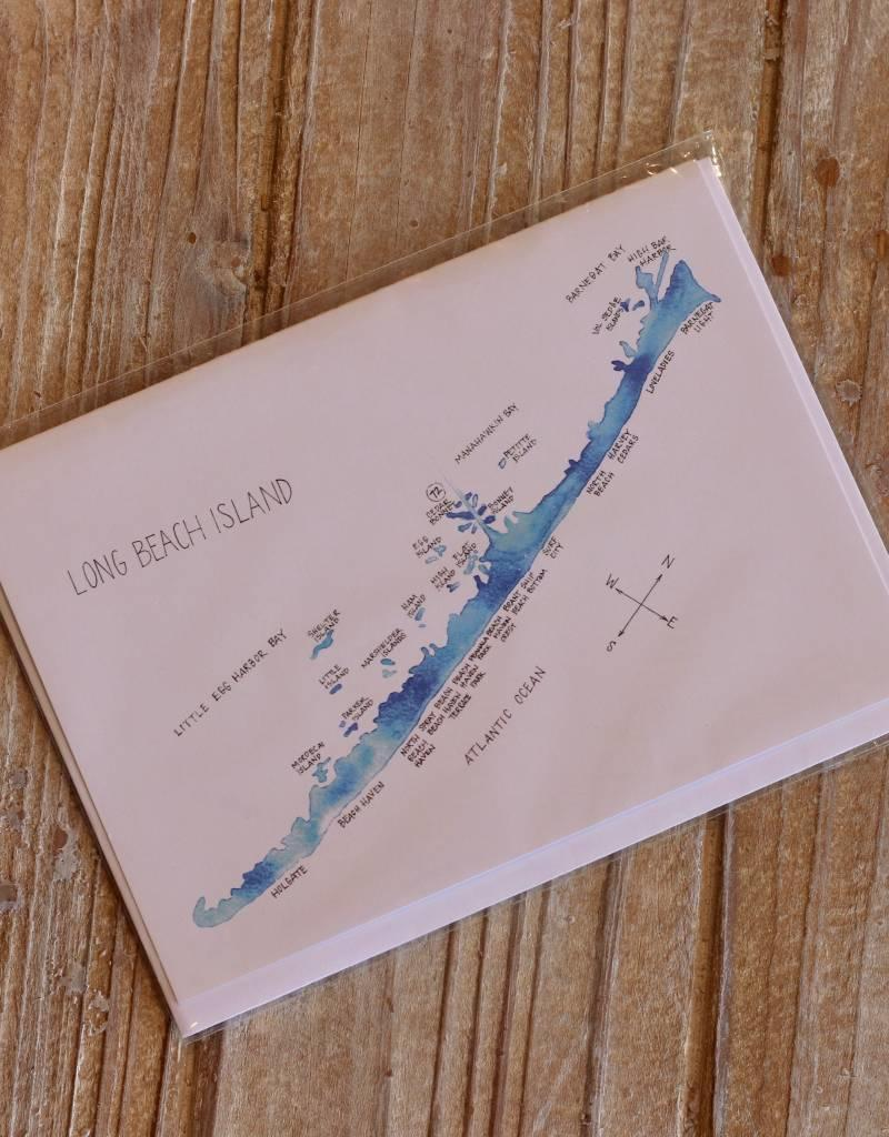 Isola Bella LBI Watercolor Map Greeting Cards