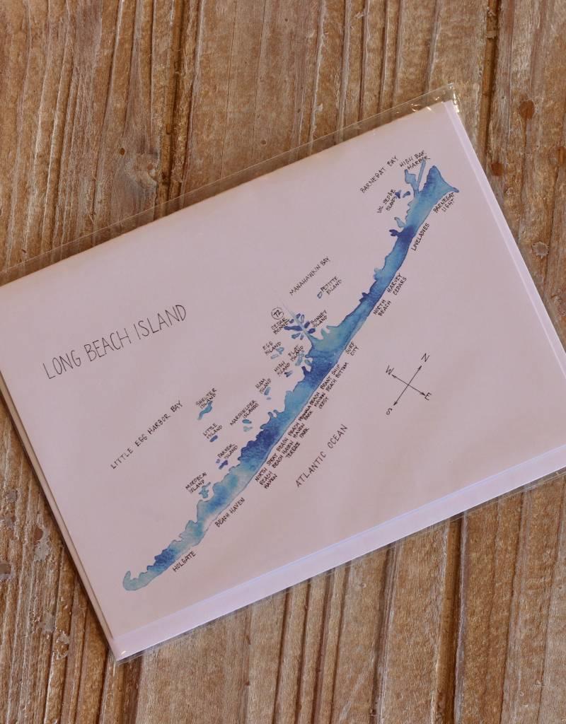LBI Watercolor Map Greeting Cards