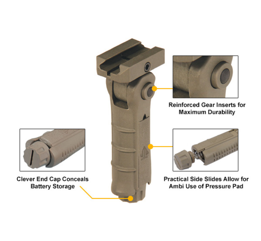 UTG Ambidextrous 5-Position Foldable Foregrip (FDE)