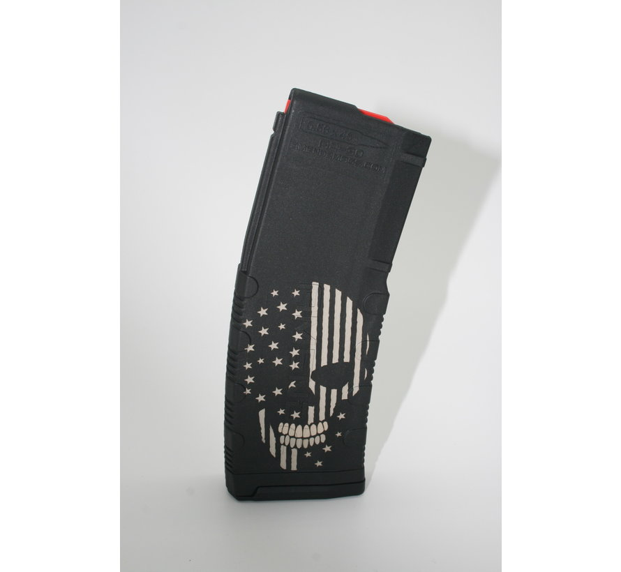 Amend2 AR-15 30 Round Magazine (Black) | Etched Skull with Flag