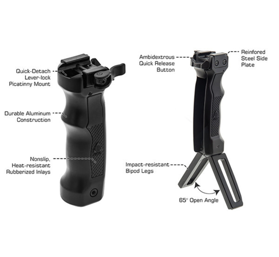 UTG D Grip with Ambi Quick Release Deployable Bipod (Black)