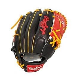 "Rawlings Rawlings Heart of the Hide Pro 11.25"" Infield Glove-Black/Red Web-Right Hand Throw"
