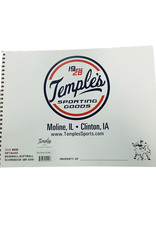Temple's 12 Player Baseball / Softball Score Book