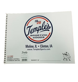 Temple's 12 Player Baseball / Softball Score Book