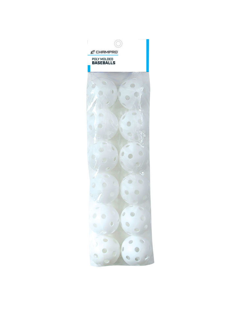 """Champro Champro 9"""" White poly molded wiffle balls (12 pack) RETAIL"""