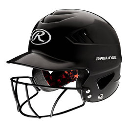 Rawlings Rawlings Coolflo Batting Helmet with FaceGuard BLACK
