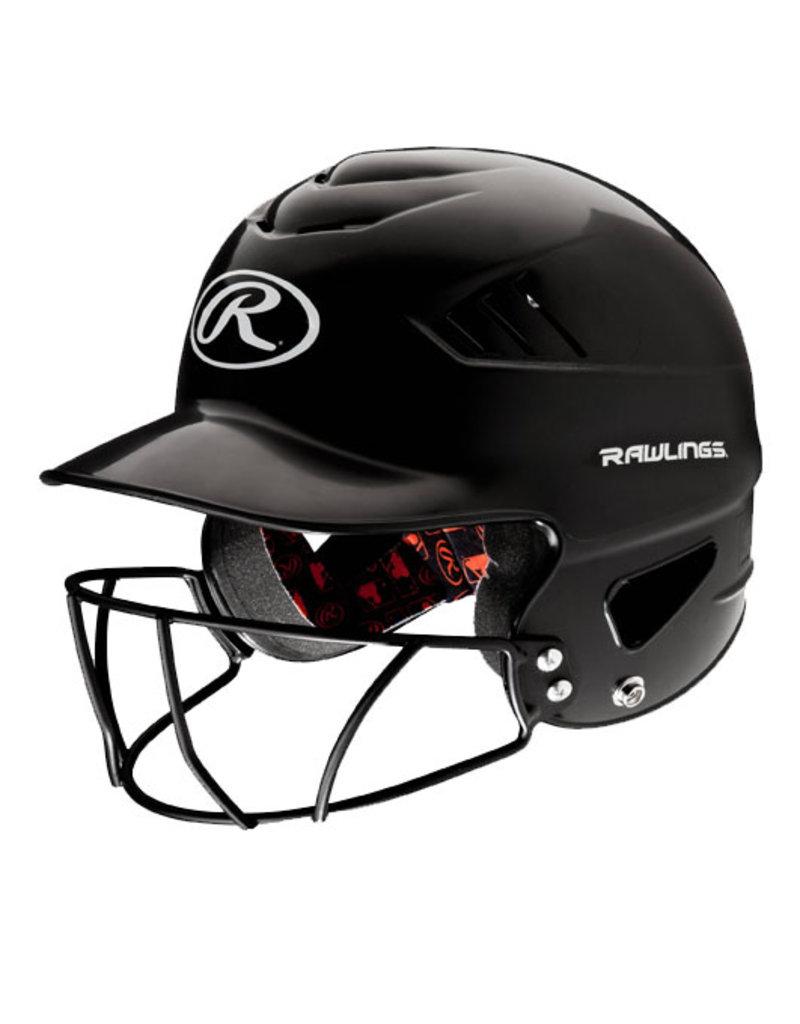 Rawlings Rawlings Coolflo Batting Helmet with FaceGuard BLACK