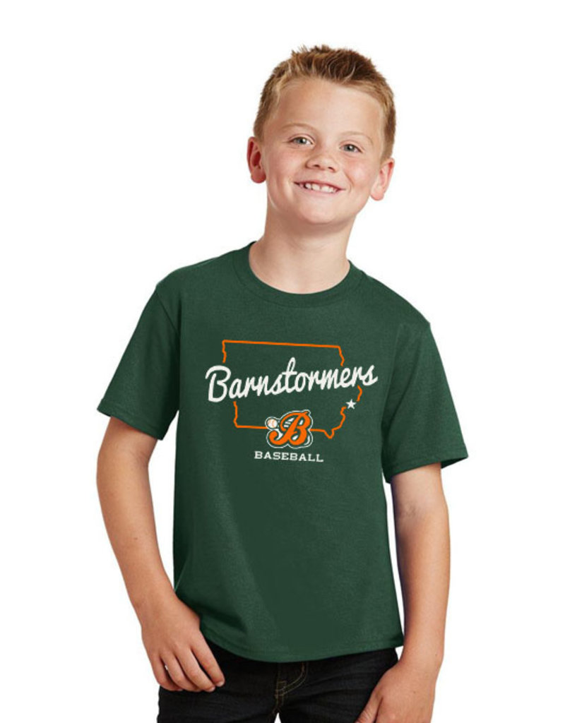Rah-Rah Clothing Barnstormer Baseball YOUTH State of Iowa Soft Short Sleeve Tee-Forest Green