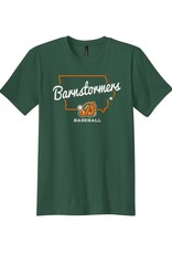 Rah-Rah Clothing Barnstormer Baseball State of Iowa Soft short Sleeve Tee-Forest Green